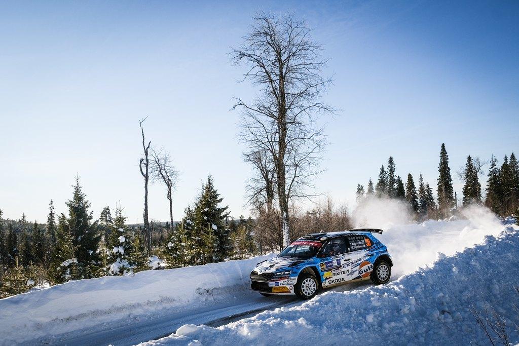 Teemu Asunmaa ja kartanlukija Marko Salminen WRC Arctic Rally Finlandissa. Kuva: Taneli Niinimäki